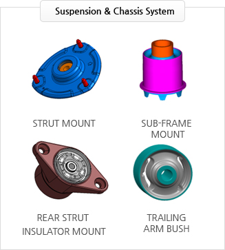 Suspension & Chassis System : STRUT MOUNT, SUB-FRAME  MOUNT, REAR STRUT  INSULATOR MOUNT, TRAILING ARM BUSH